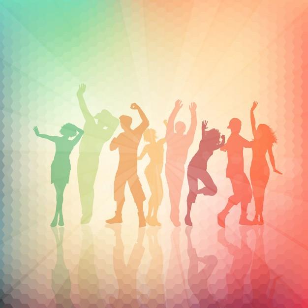 Siluetas de personas bailando sobre un fondo abstracto 626x626