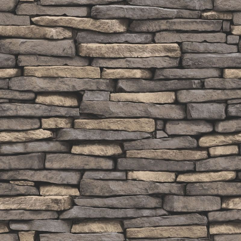 Natural Stone Grey   FD31293   Slate   Brick   Fine Decor Wallpaper 800x800