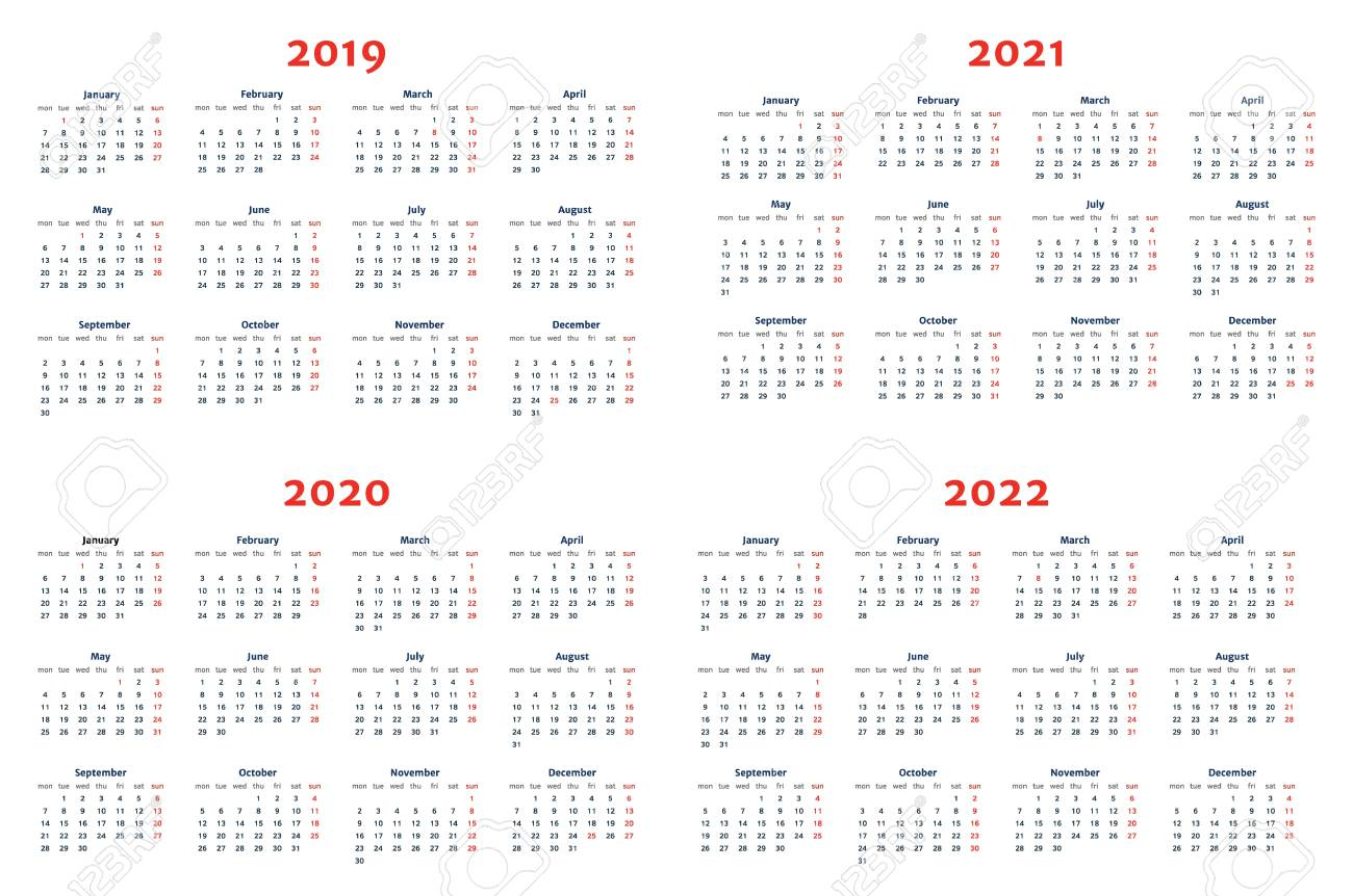 download Calendar For 2019 2022 Years On Transparent 1300x862