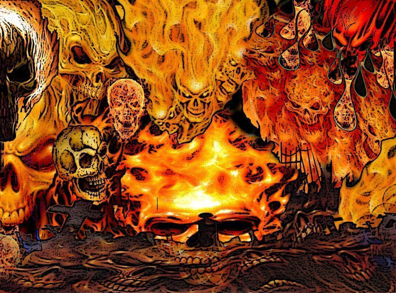 Skulls On Fire Wallpapers 1280x947