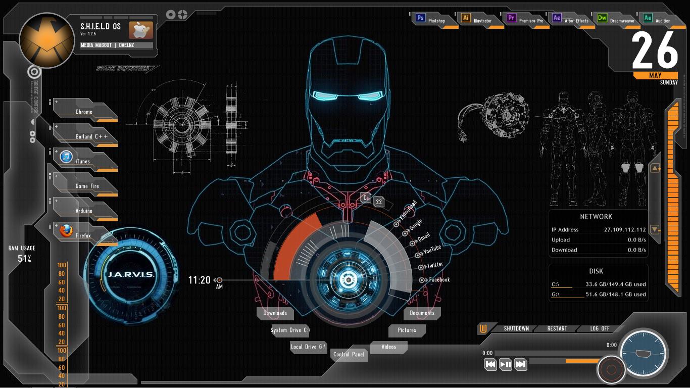 Iron Man Jarvis Desktop Wallpaper for Pinterest 1366x768