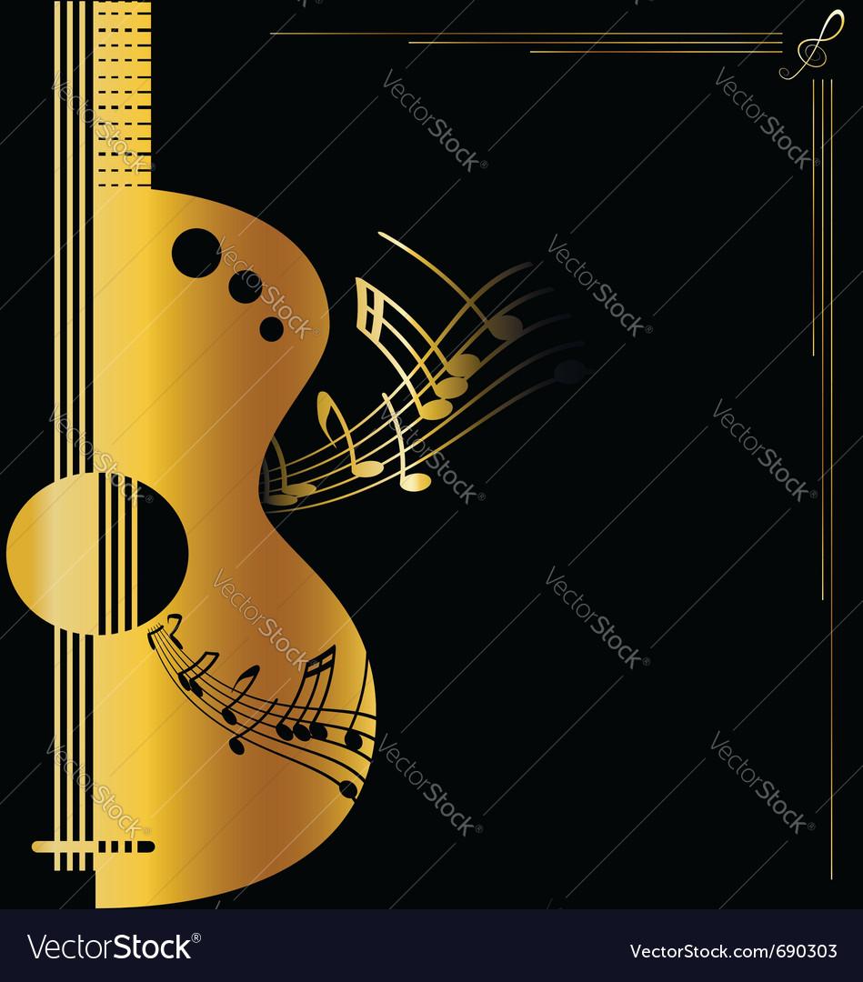 Background golden guitar Royalty Vector Image 949x1080