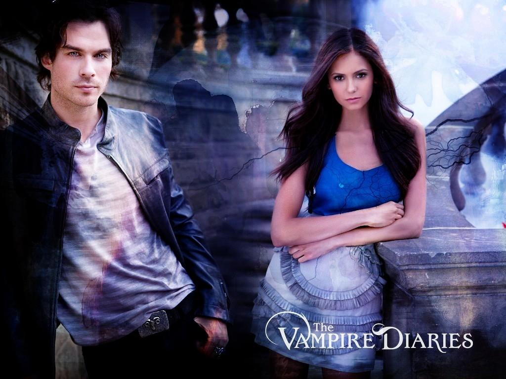 Damon Elena   The Vampire Diaries Wallpaper 8415394 1024x768