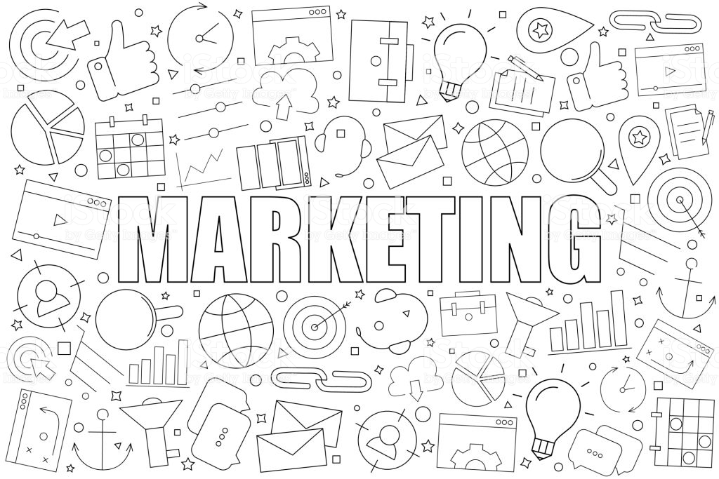 Marketing Background From Line Icon Linear Vector Pattern Vector 1024x683