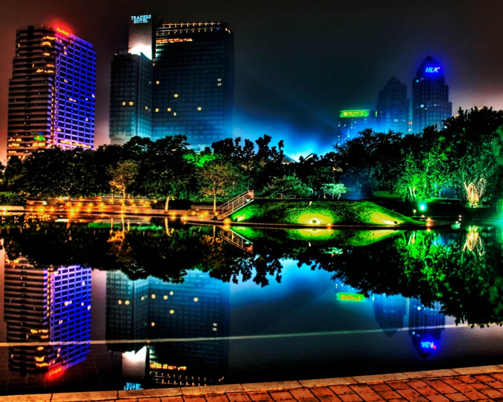 1024x768 Colorful night lights desktop PC and Mac wallpaper 1024x819