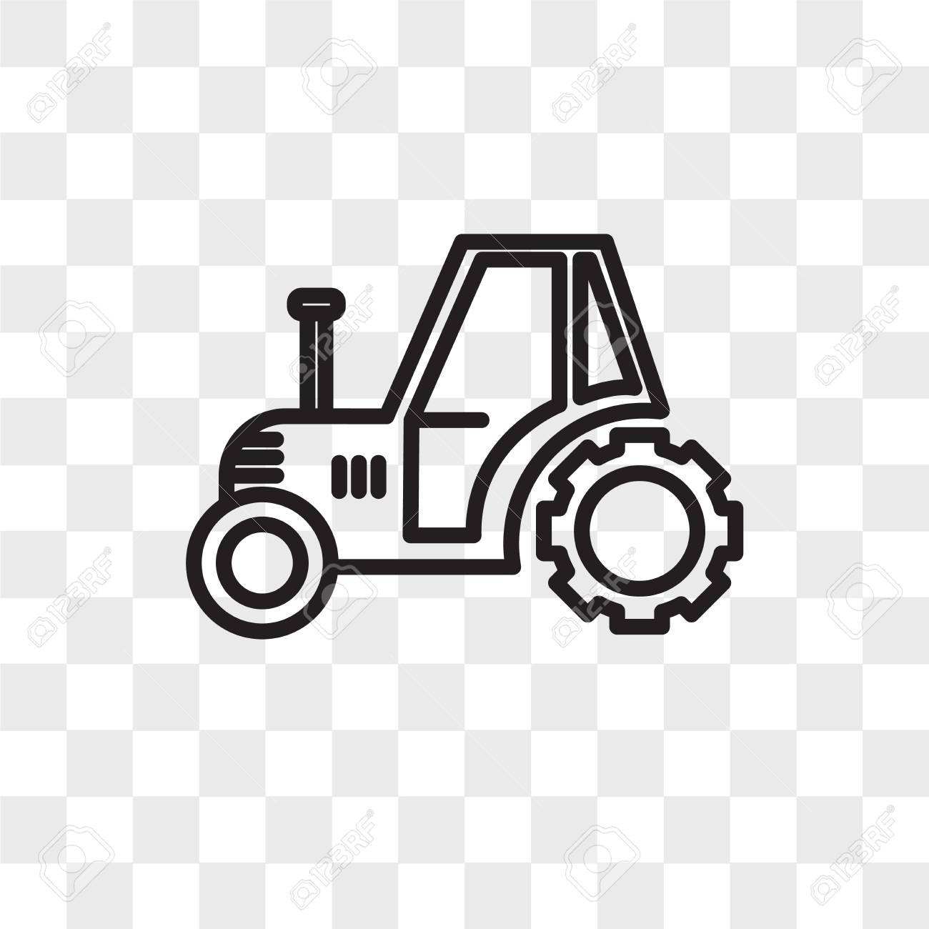 Tractor Vector Icon Isolated On Transparent Background Tractor 1300x1300