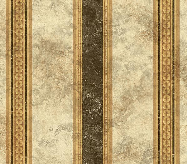 Tuscan Stripe Black Beige Wallpaper 600x525
