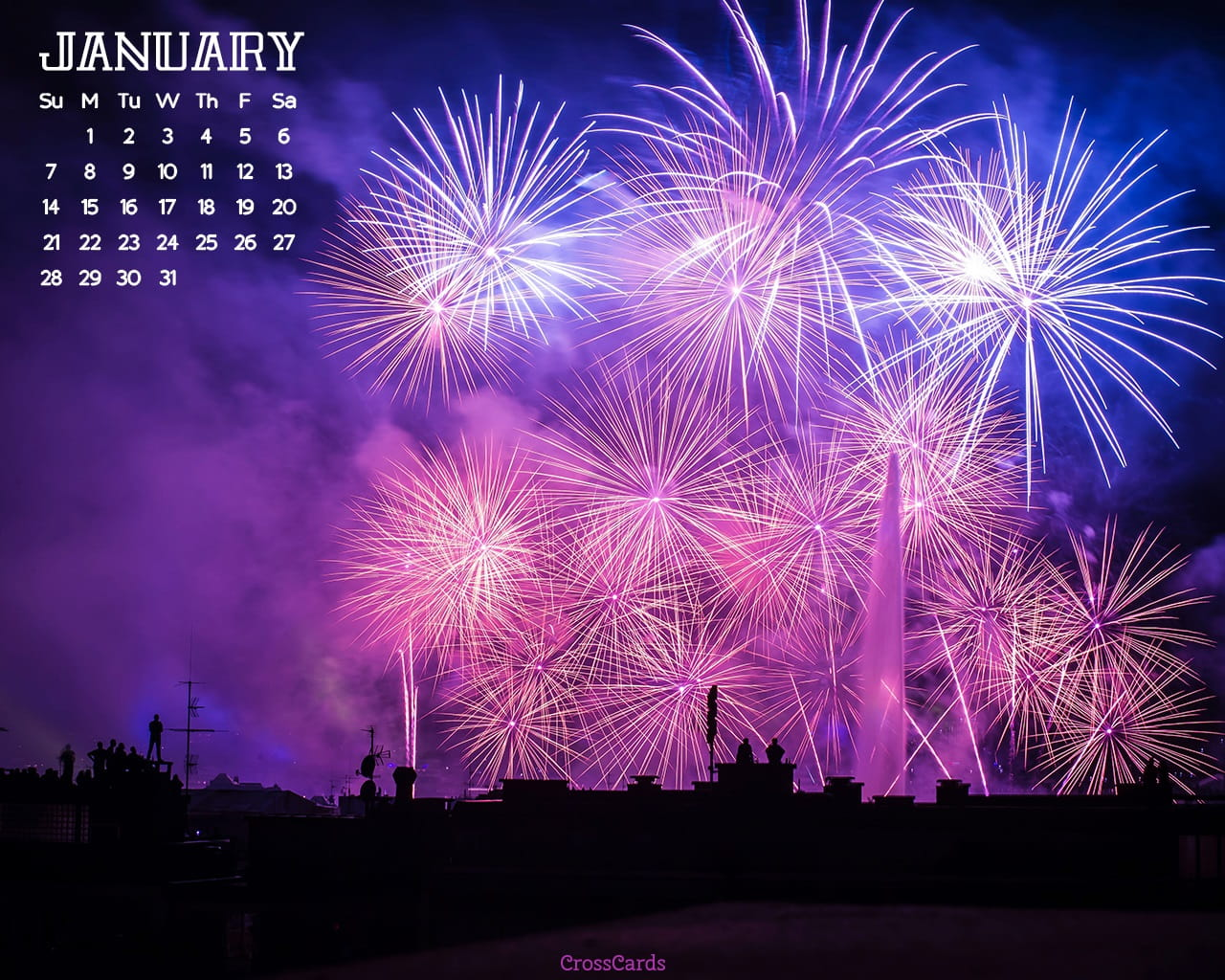January 2018   Fireworks Desktop Calendar  January 1280x1024