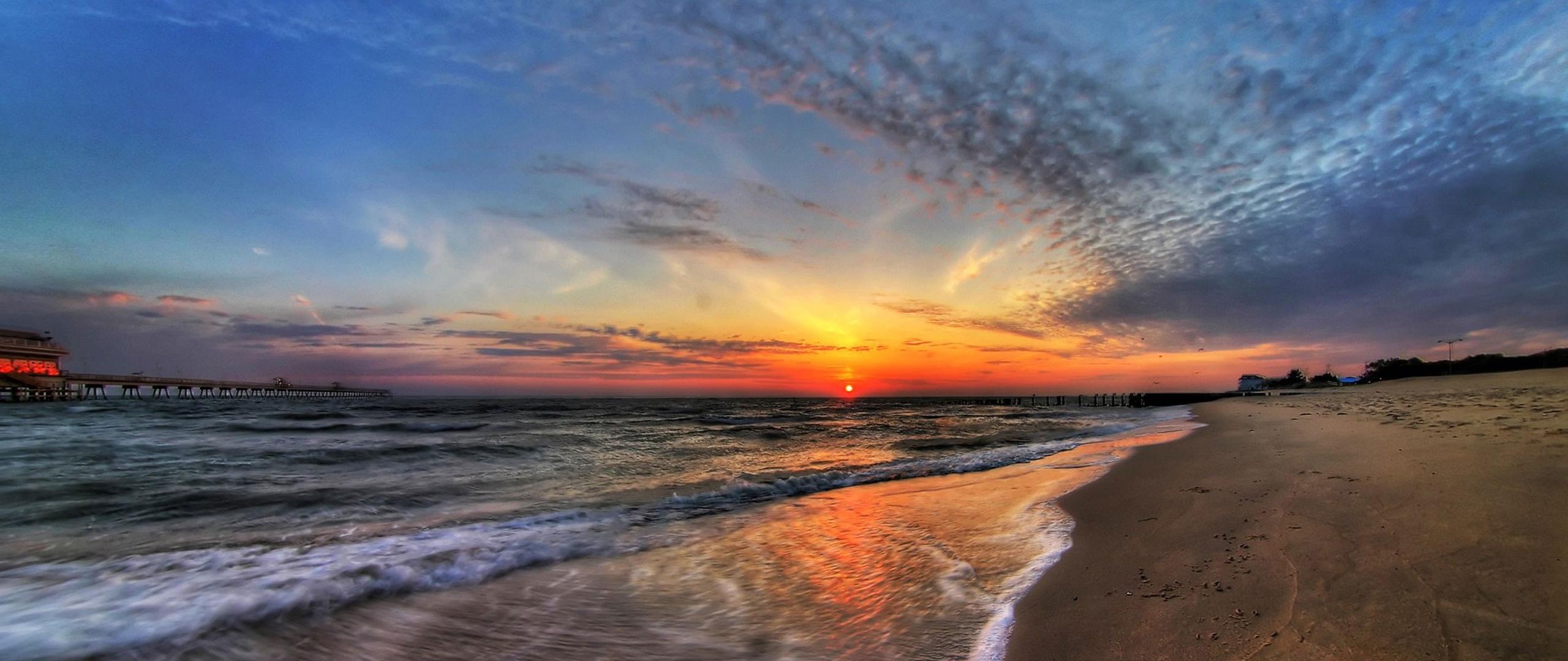 Sun Beach And Sea Wallpaper: 2560x1080 HD Wallpaper