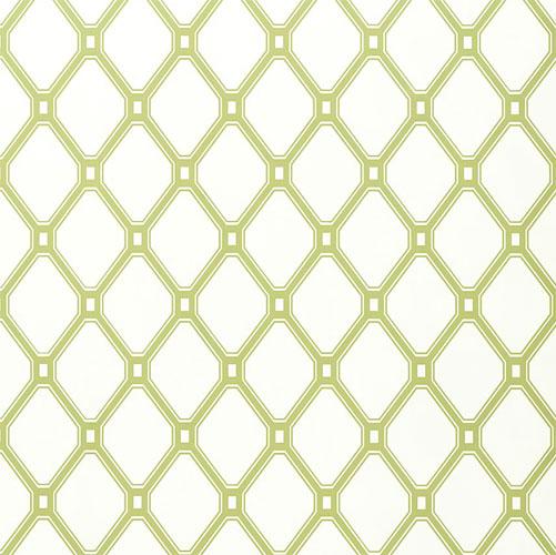 Lattice Wallpaper In Green On White and Artwork in Decor Wallpaper 501x500