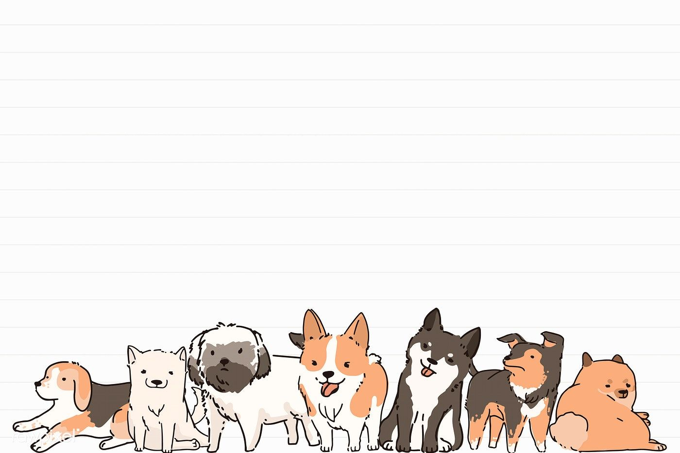 Dog lover pattern lined note paper template vector premium image 1400x933