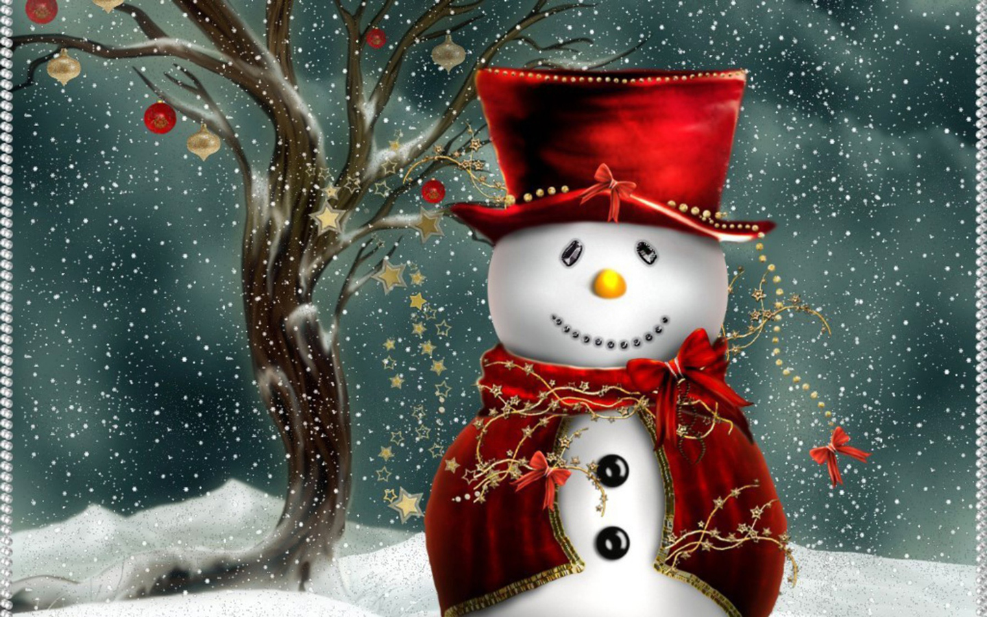 Cute Christmas Snowman computer desktop wallpaper 1440x900
