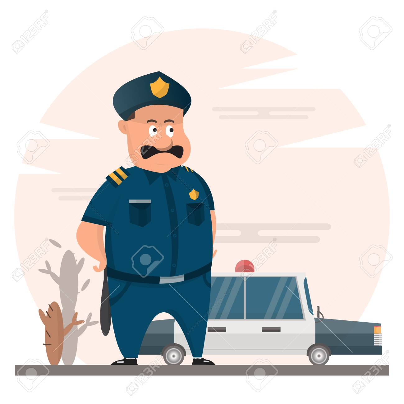 Fat Police Officers With Police Car And Desert Background Uncle 1300x1300