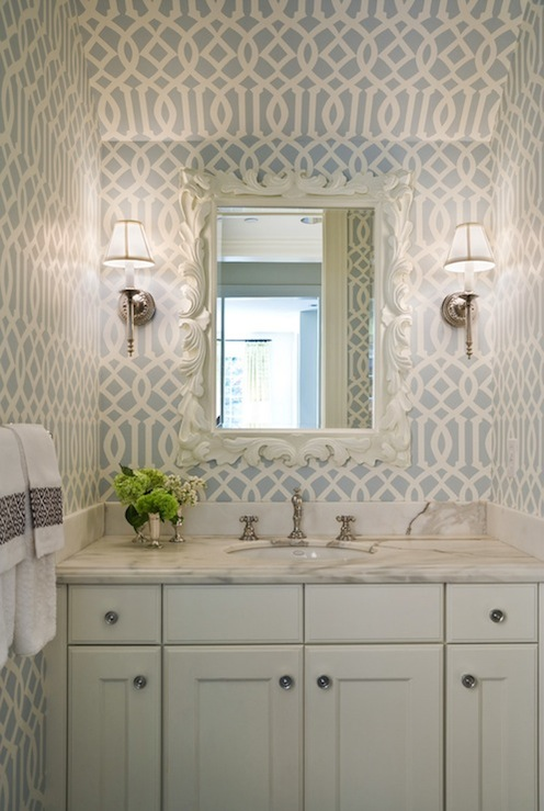 Imperial Trellis Wallpaper Transitional bathroom Graciela Rutkowski 496x739