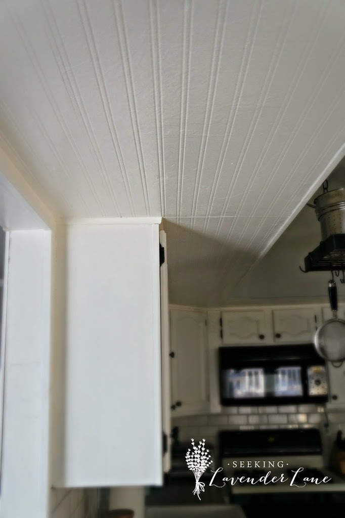 Adding Beadboard Wallpaper to our Kitchen Ceiling   Seeking 682x1024