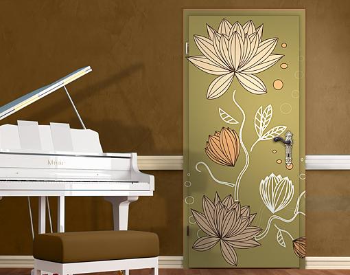 Door Wall Mural Art Nouveau Flower Wallpaper Decor Retro 510x400
