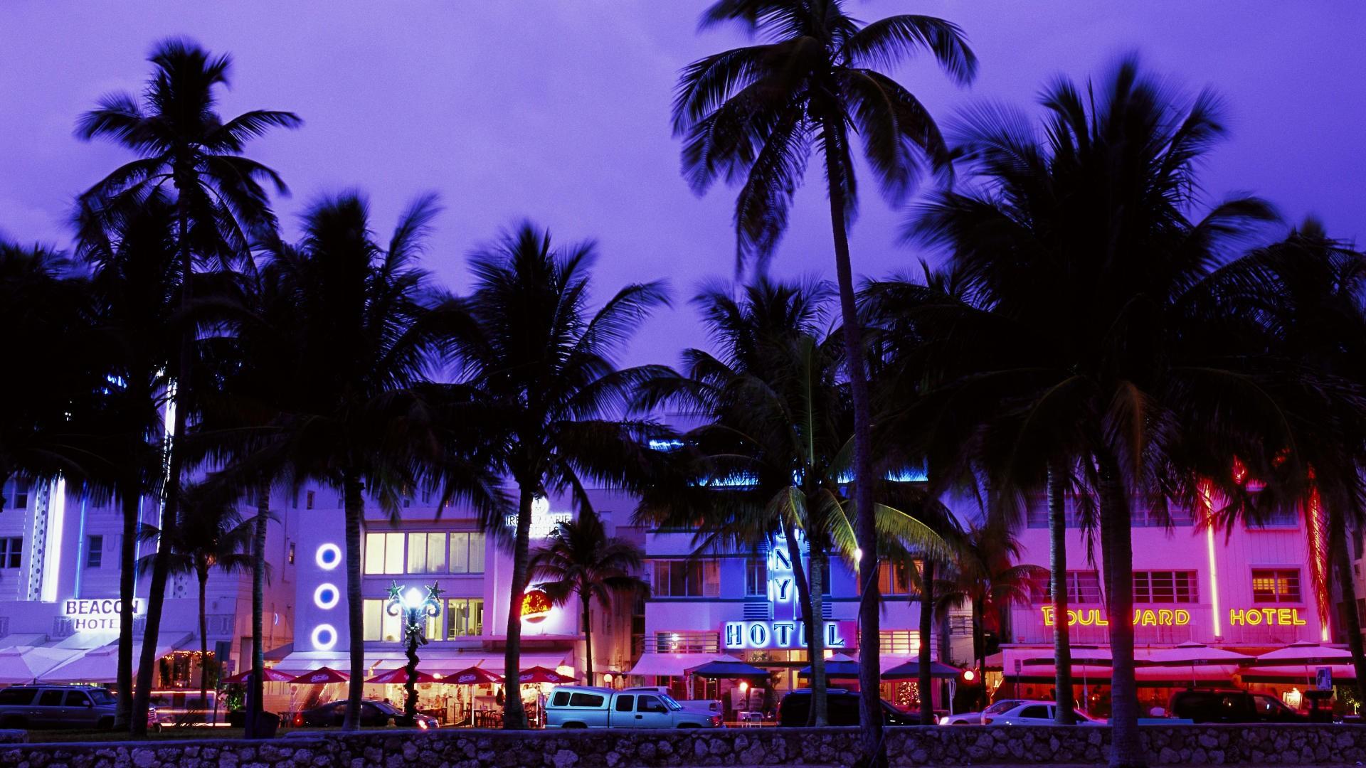 Cars Miami Wallpaper 1920x1080 Cars Miami Street Lights Palm 1920x1080