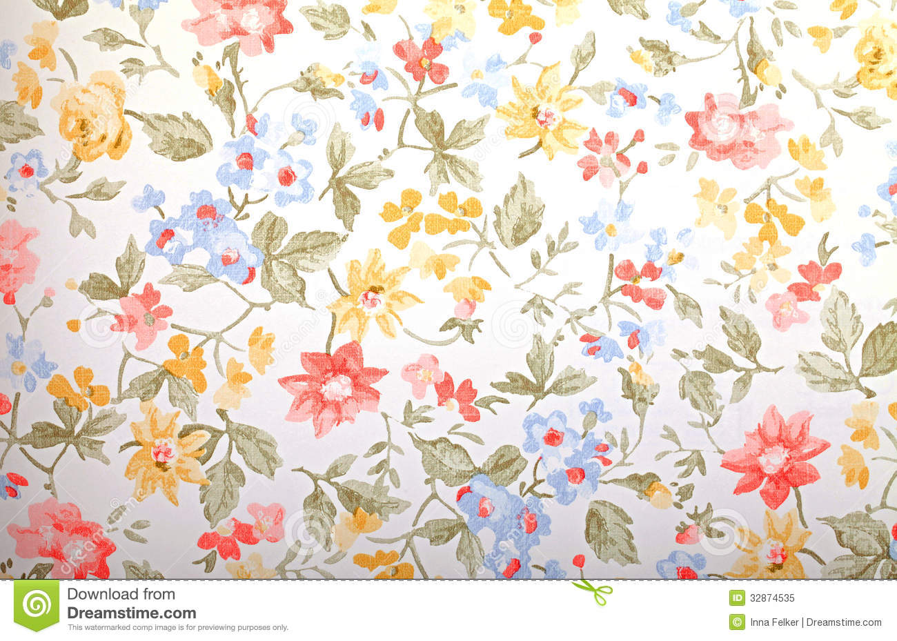 Vintage Flower Pattern Wallpaper Provan 1300x929
