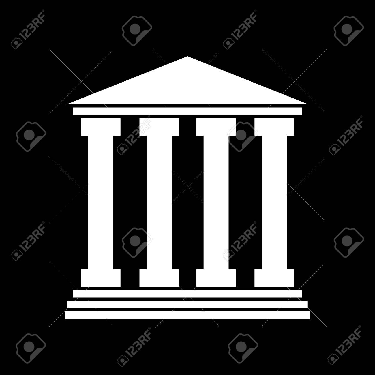 Icon Of Courthouse   White Illustration On Black Background 1300x1300