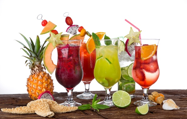 Tropical cocktails fruit fresh drink summer cocktails wallpapers 596x380