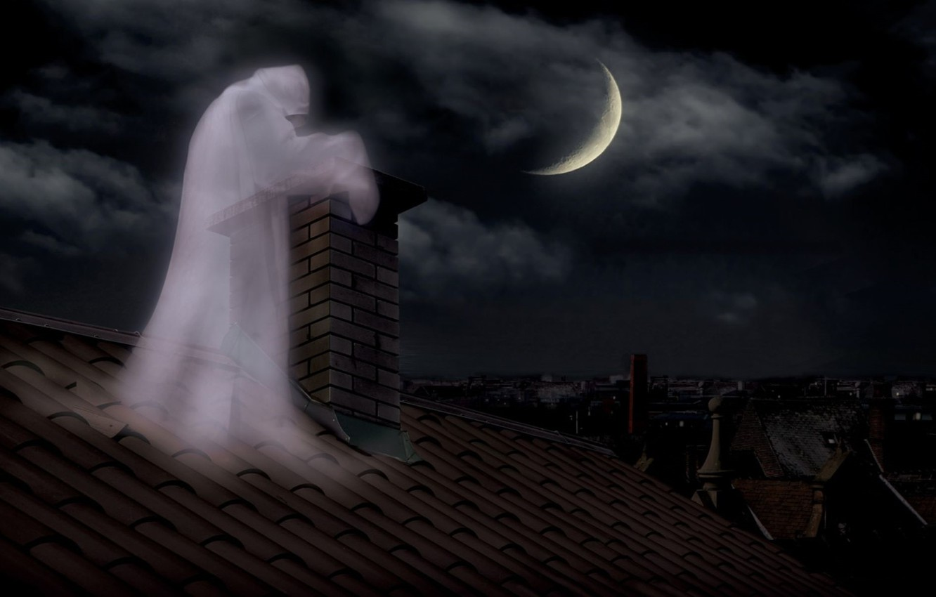 Wallpaper night pipe Ghost ghost brick lunar Eclipse on the 1332x850