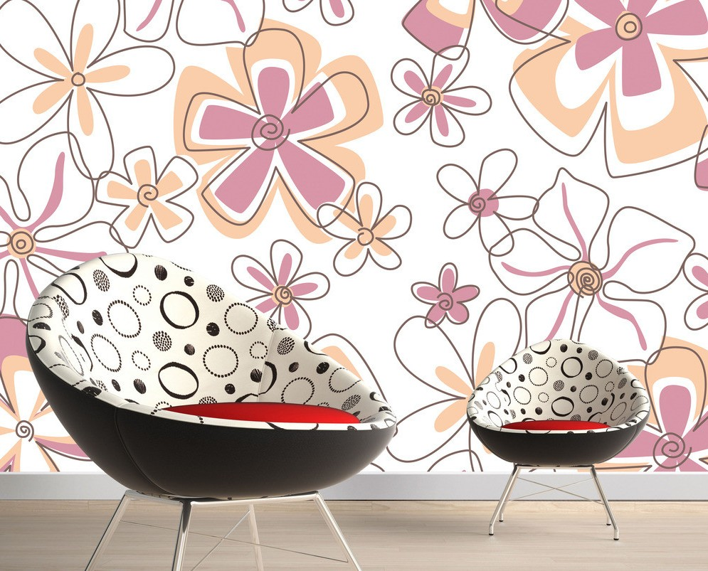 Wall decor by floral wallpaper 3D house 3D house pictures and 995x803