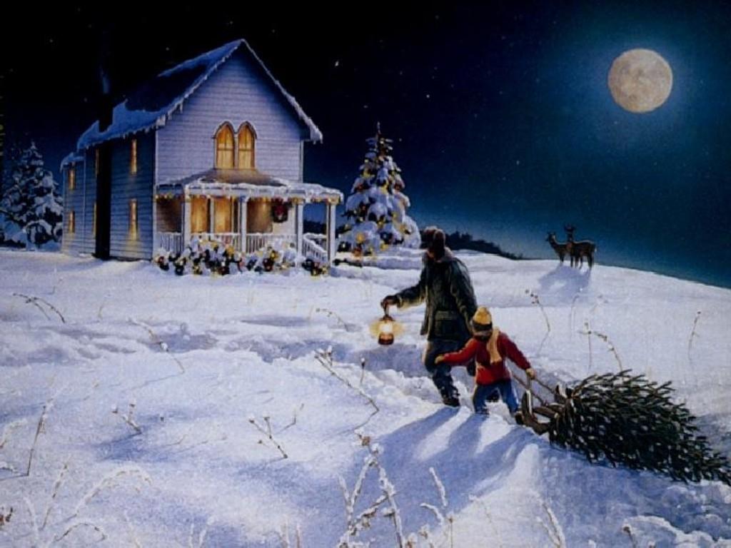 Christmas Desktop Wallpaper   Bringing Home The Christmas 1024x768