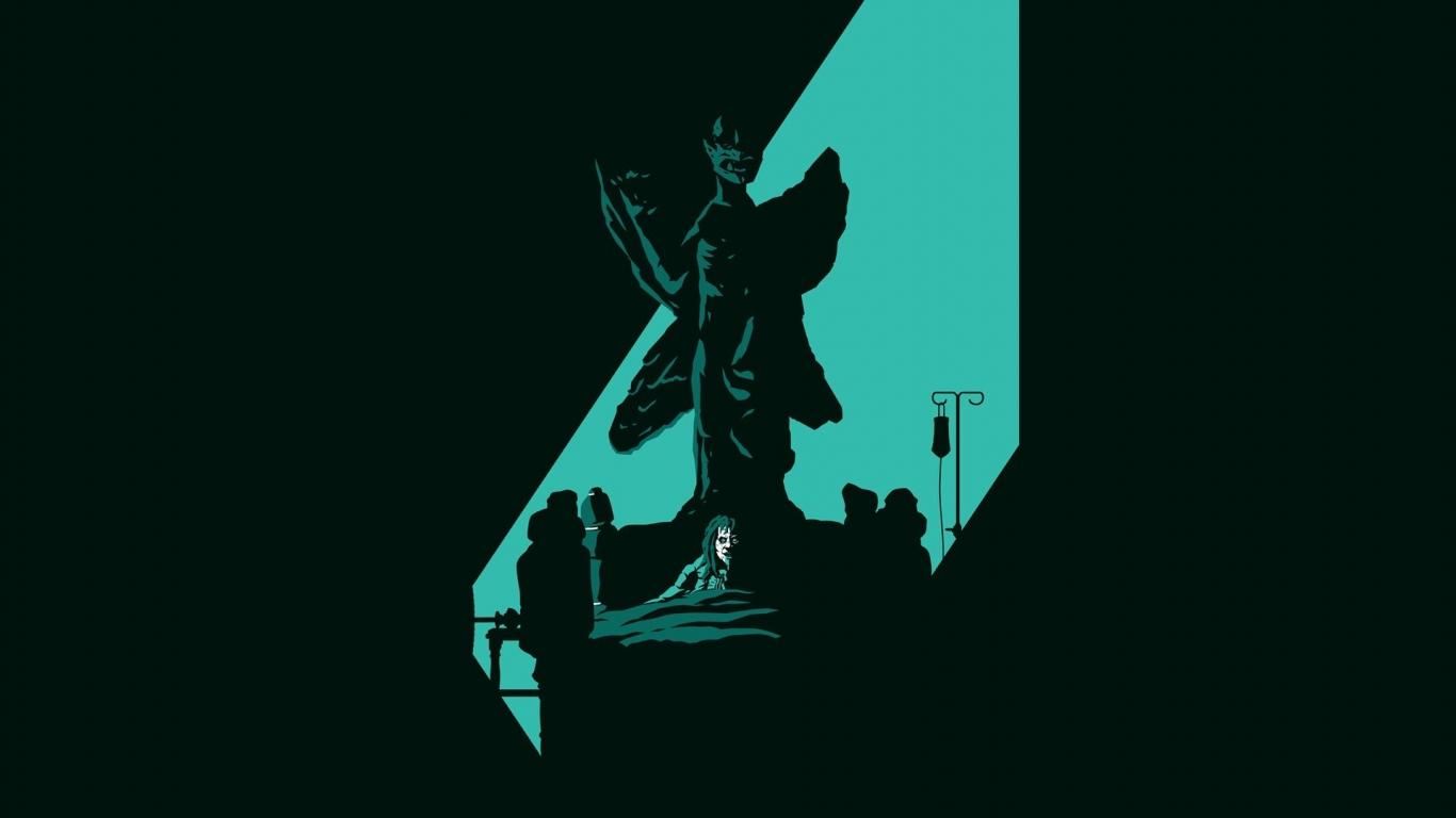 download Pazuzu the exorcist artwork beds black wallpaper 1366x768