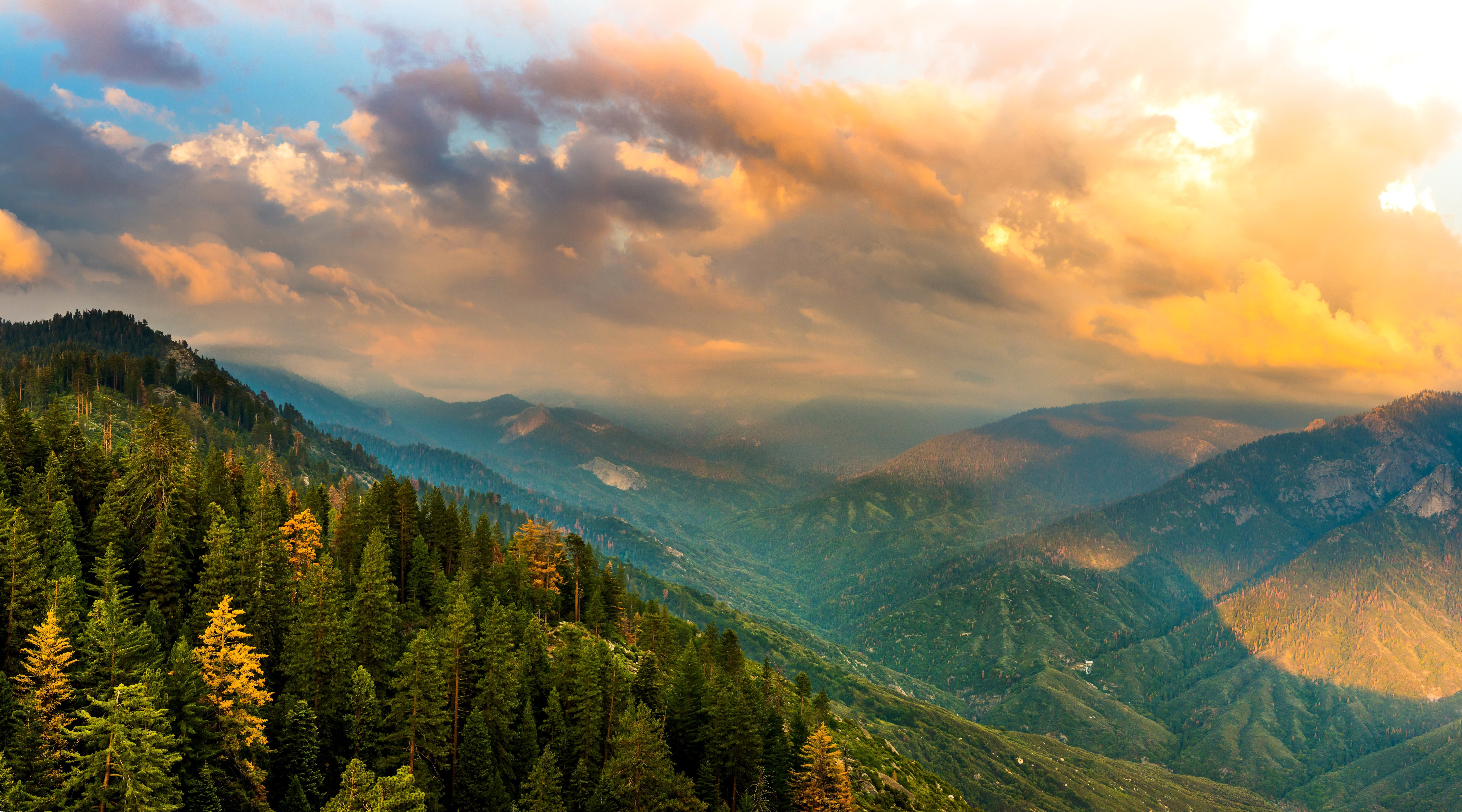 Usa Parks Scenery Mountains Forests California Clouds Kings 7200x4000