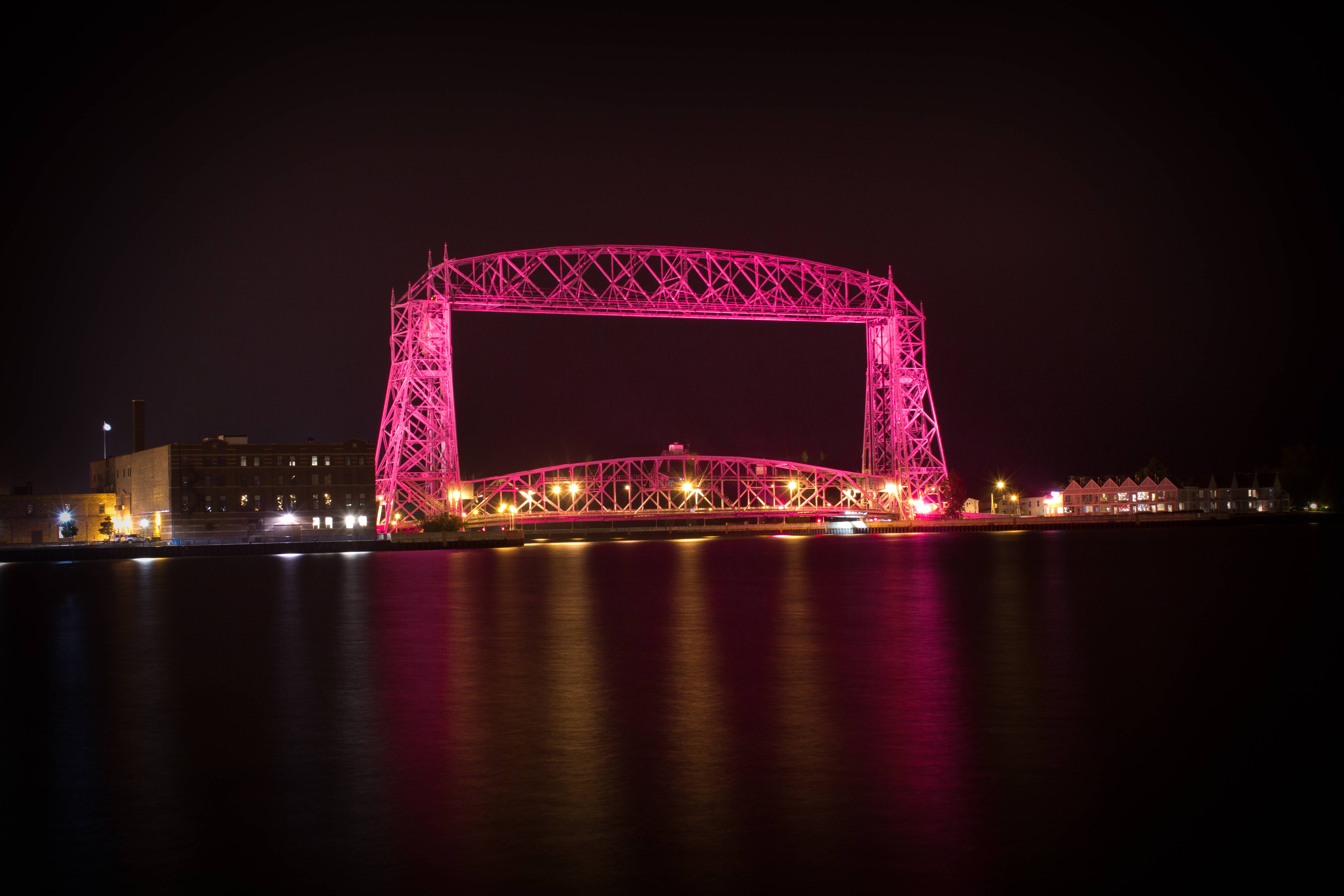 The Aerial Lift Bridge in Duluth MN Goes Pink for Breast Cancer 5184x3456