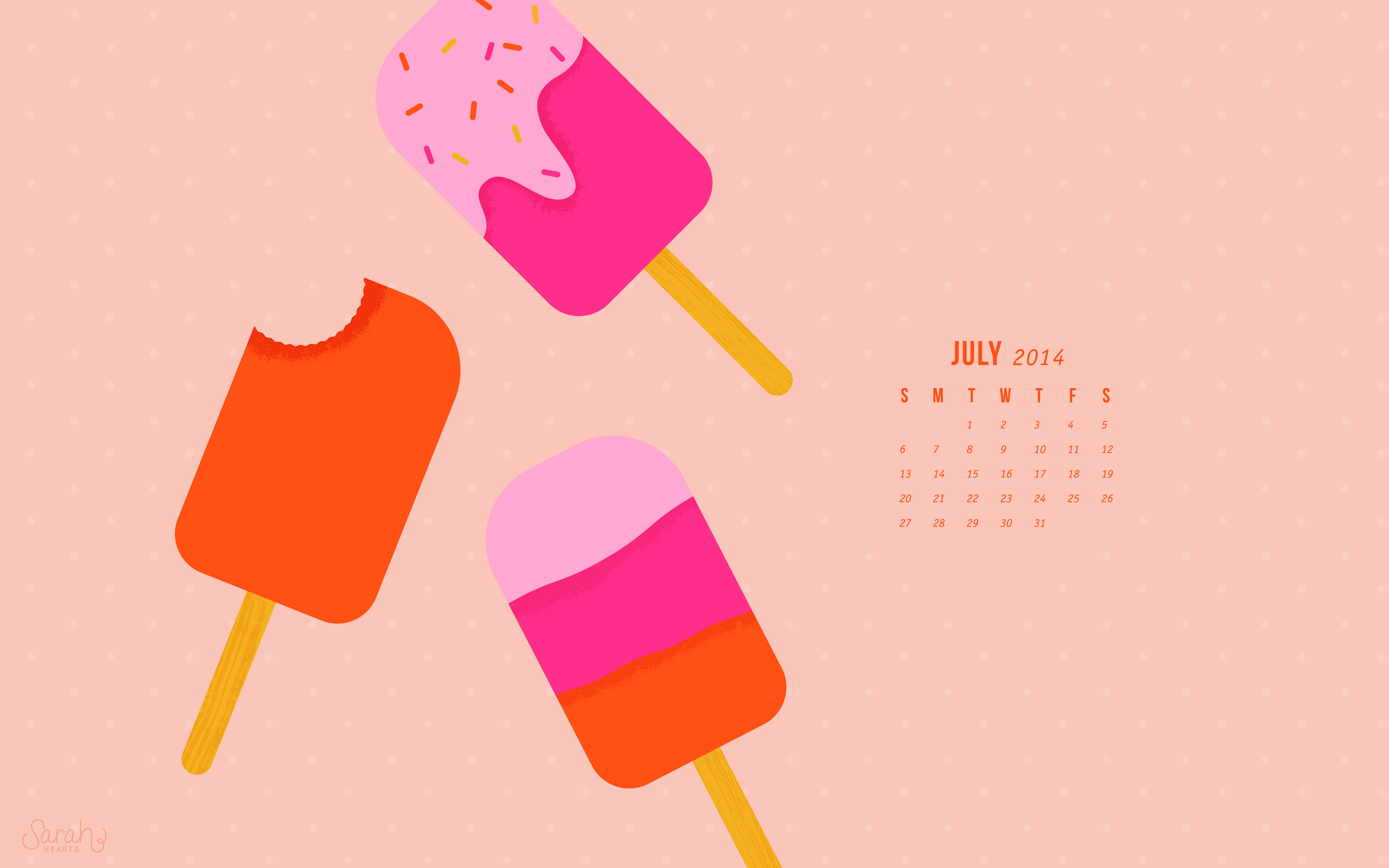 July 2014 Calendar Wallpaper   Sarah Hearts 6000x3750