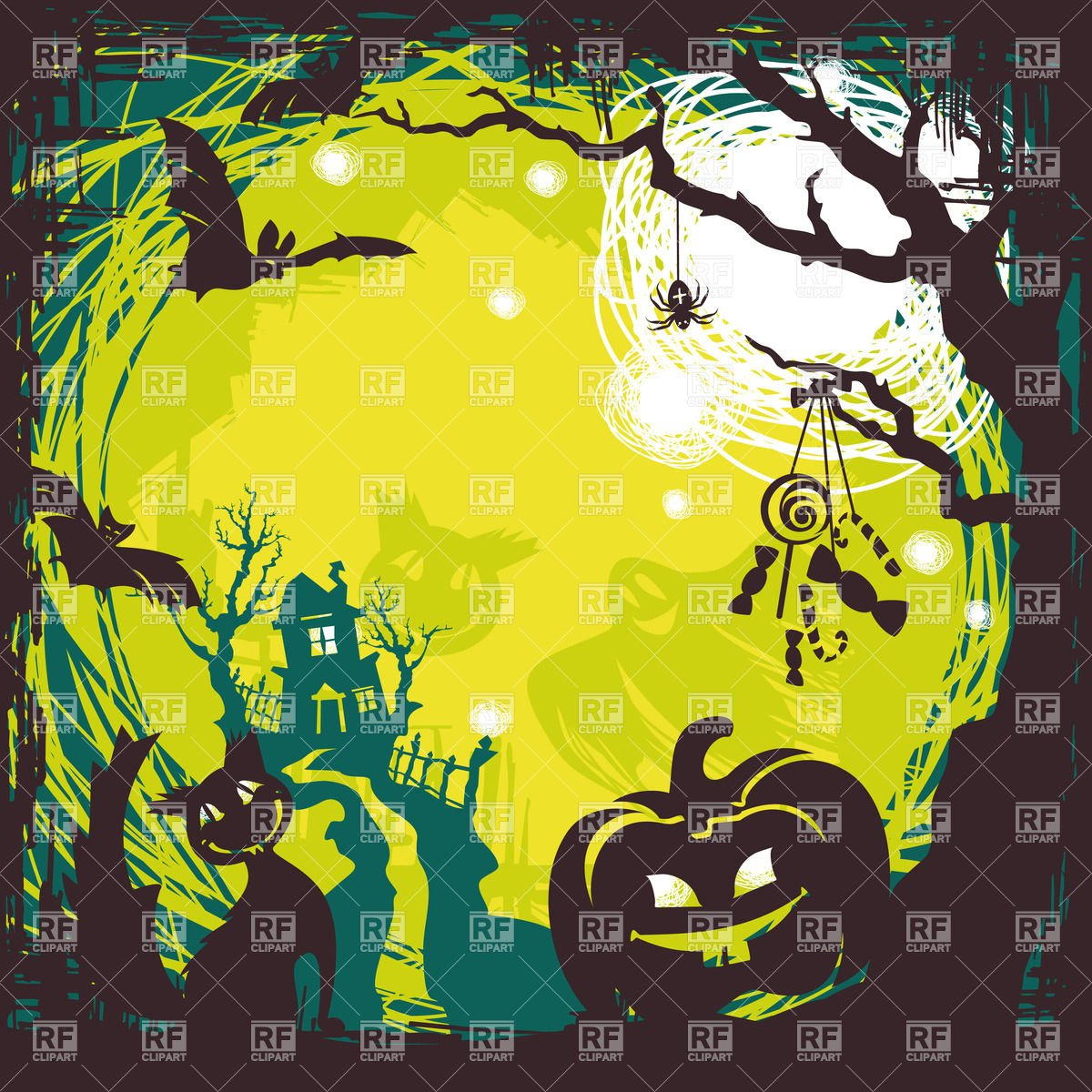 Cartoon cute halloween background with spooky house pumpkin and 1200x1200