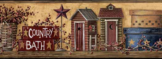 Outhouses Bathroom Primitive   Wallpaper Border Wallpaper inccom 525x192