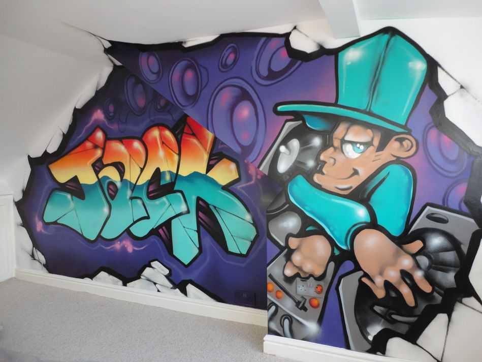 Jack Hiphop Childrens Graffiti Art Bedroom Mural Illustrate 2839 949x712