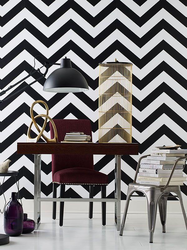 Devine Color Zigzag Wallpaper   Black White 600x800