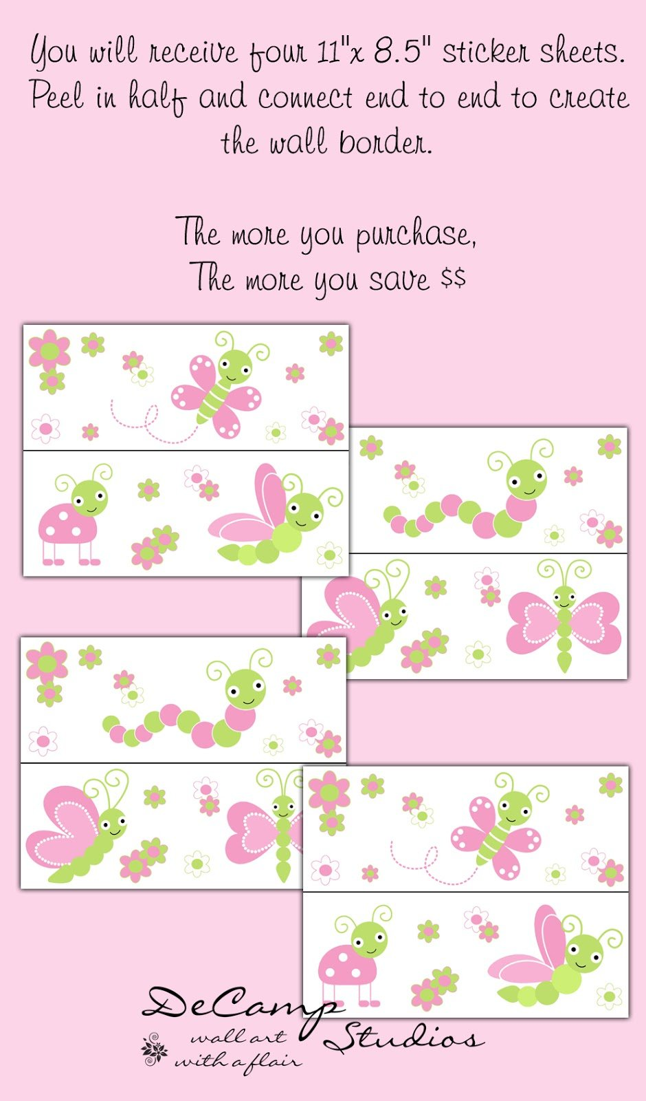 Studios Butterfly Ladybug Dragonfly Pink Green Wallpaper Border 940x1600