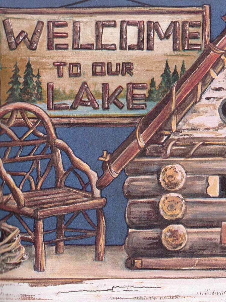 Our Lake Log Cabin Shelf Theme Sale 8 95 Wallpaper Border 510 eBay 750x1000