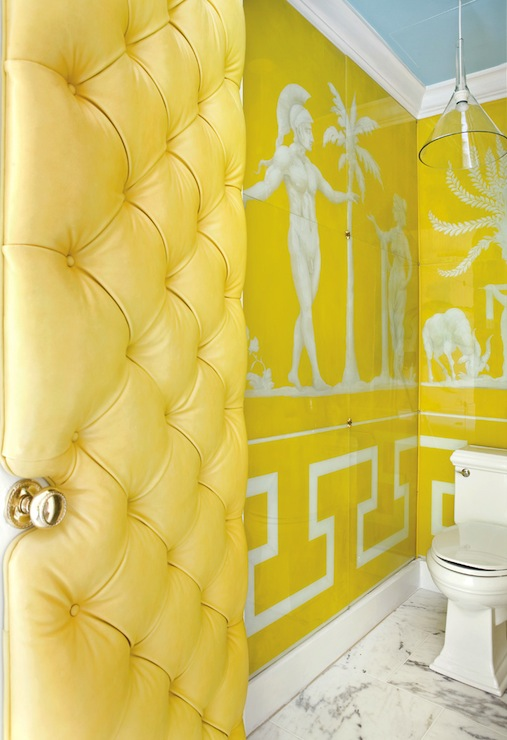 Greek Key Wallpaper   Eclectic   bathroom   Raymond Goins 507x740