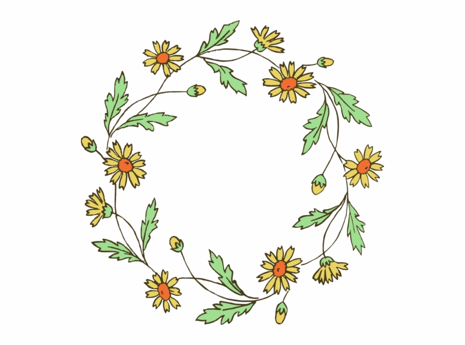 Download Flower Wreath Clipart Transparent Background   Black And 920x683