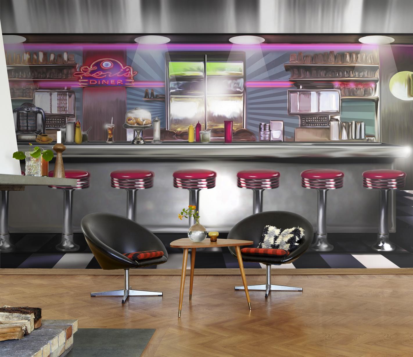 american diner wallpaper wallpapersafari. Black Bedroom Furniture Sets. Home Design Ideas
