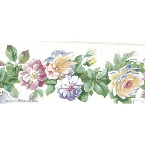 White Yellow Blue Roses Wallpaper Border 500x500