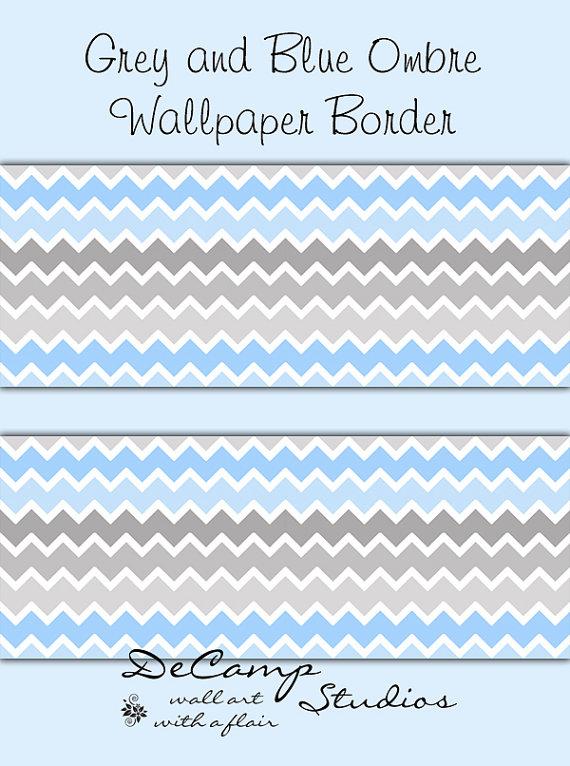 BLUE GREY GRAY Ombre Chevron Wallpaper Border Wall Decals Baby Boy 570x766