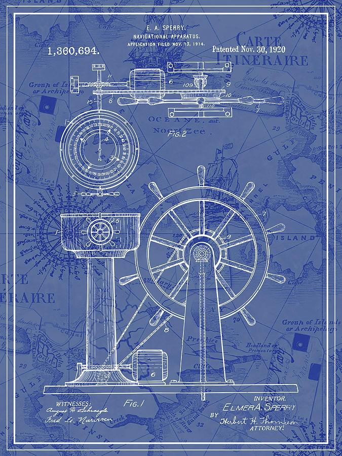 1914 Ship Navigation Blue Patent Print With Vintage Map Background 675x900