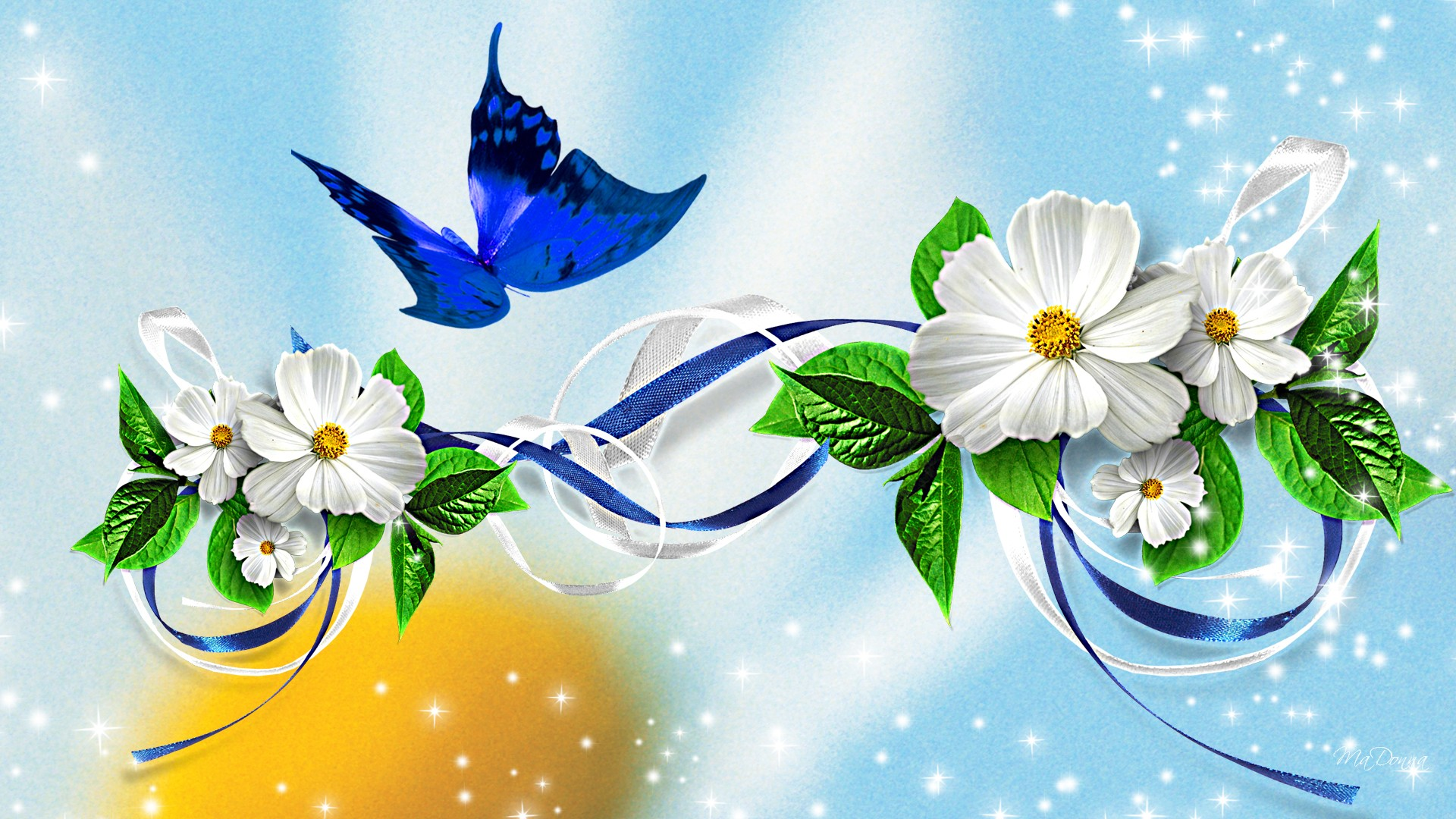 Awesome Butterfly Ribbon Blue HD Wallpaper Unique HD Wallpapers 1920x1080