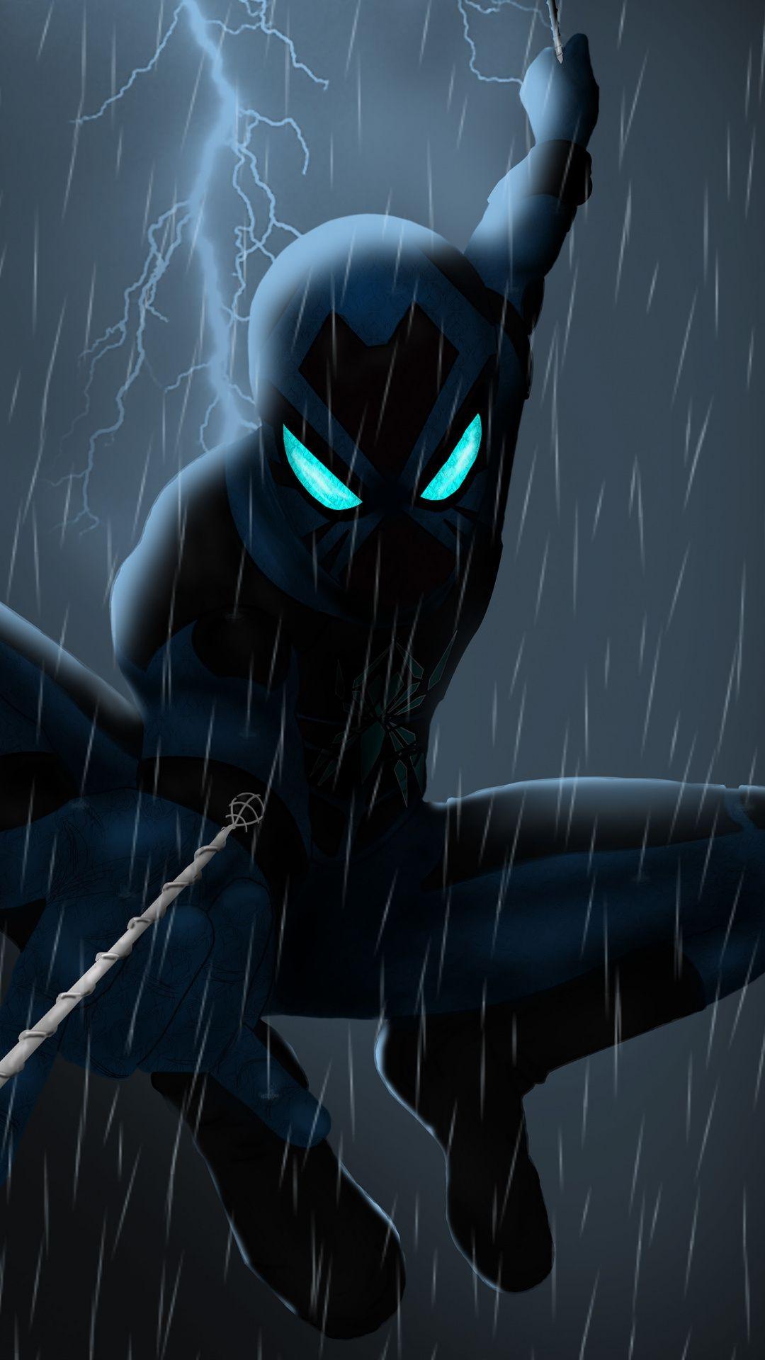 Spider man 2099 rain artwork dark 1080x1920 wallpaper 1080x1920