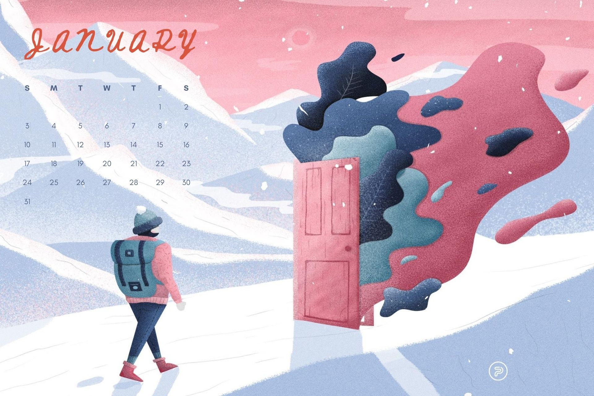 January 2021 Calendar winter wallpaper download in HD in 2020 1920x1280