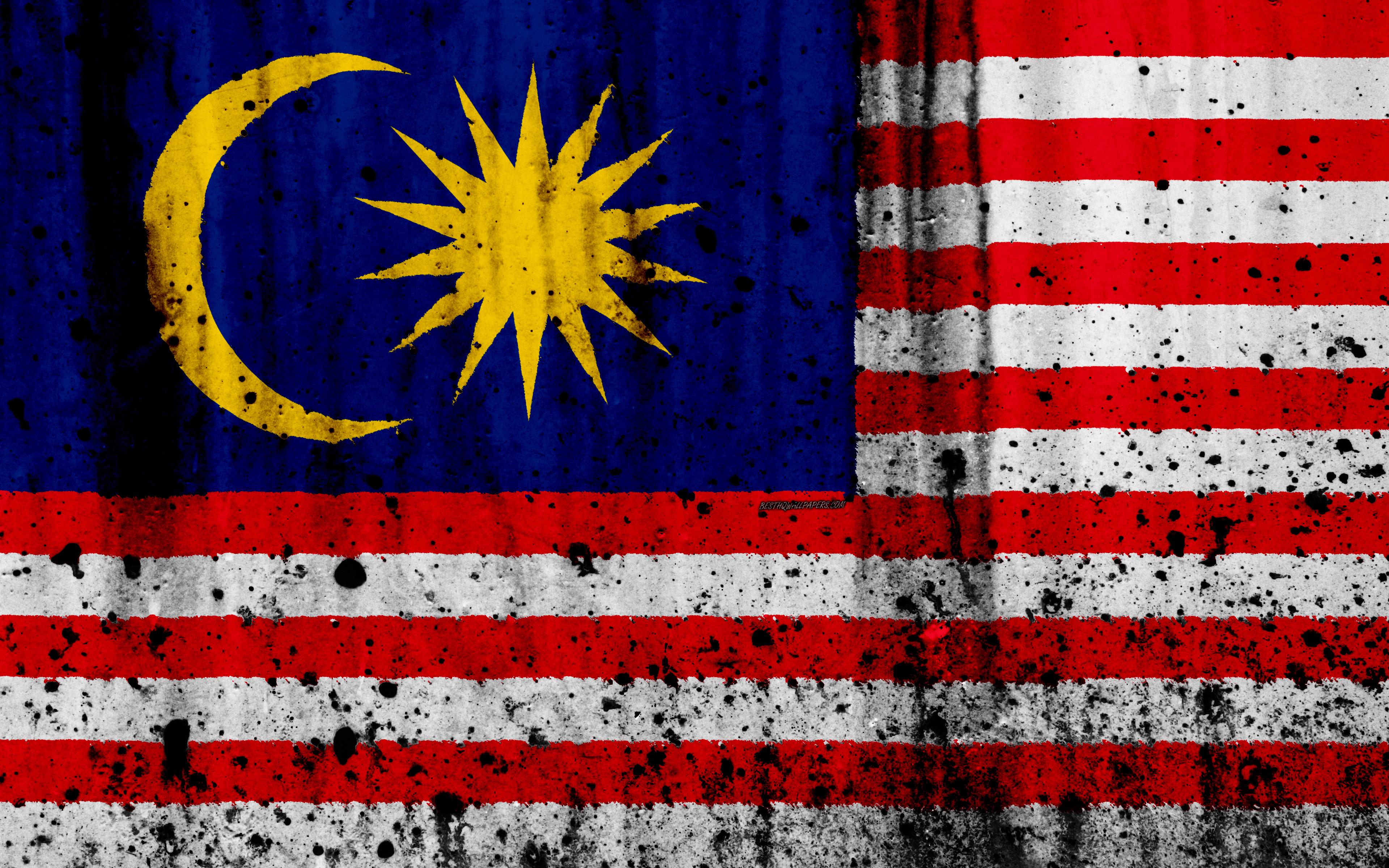 Download wallpapers Malaysian flag 4k grunge flag of Malaysia 3840x2400