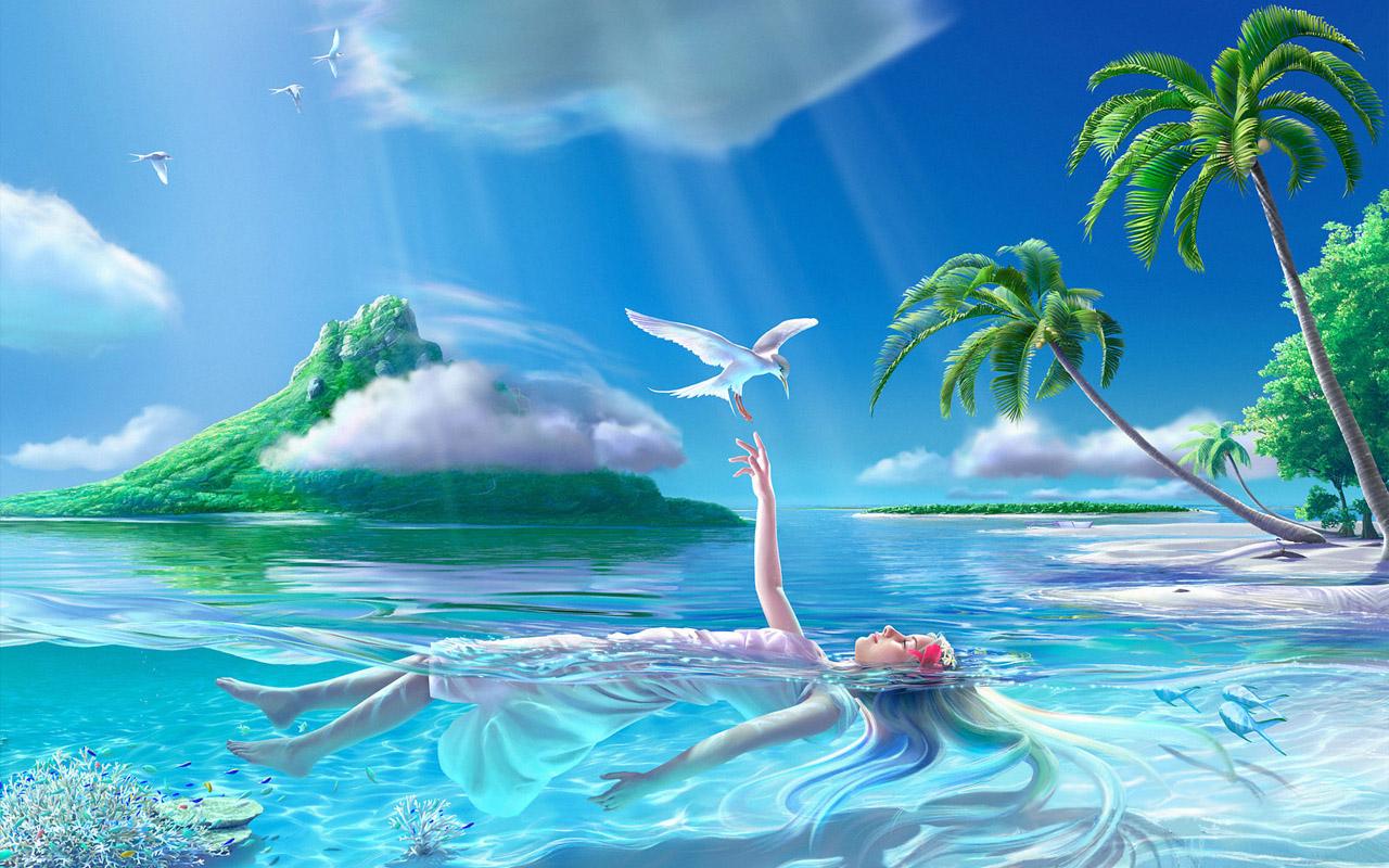 Ocean Paradise Wallpaper 1280x800 Ocean Paradise Islands Palm 1280x800