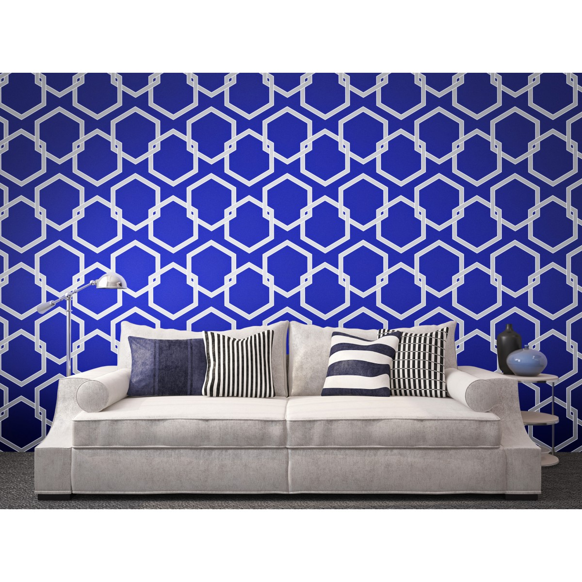 Tempaper HONEYCOMB Deep Blue Wallpaper   Tempaper Designs 1200x1200