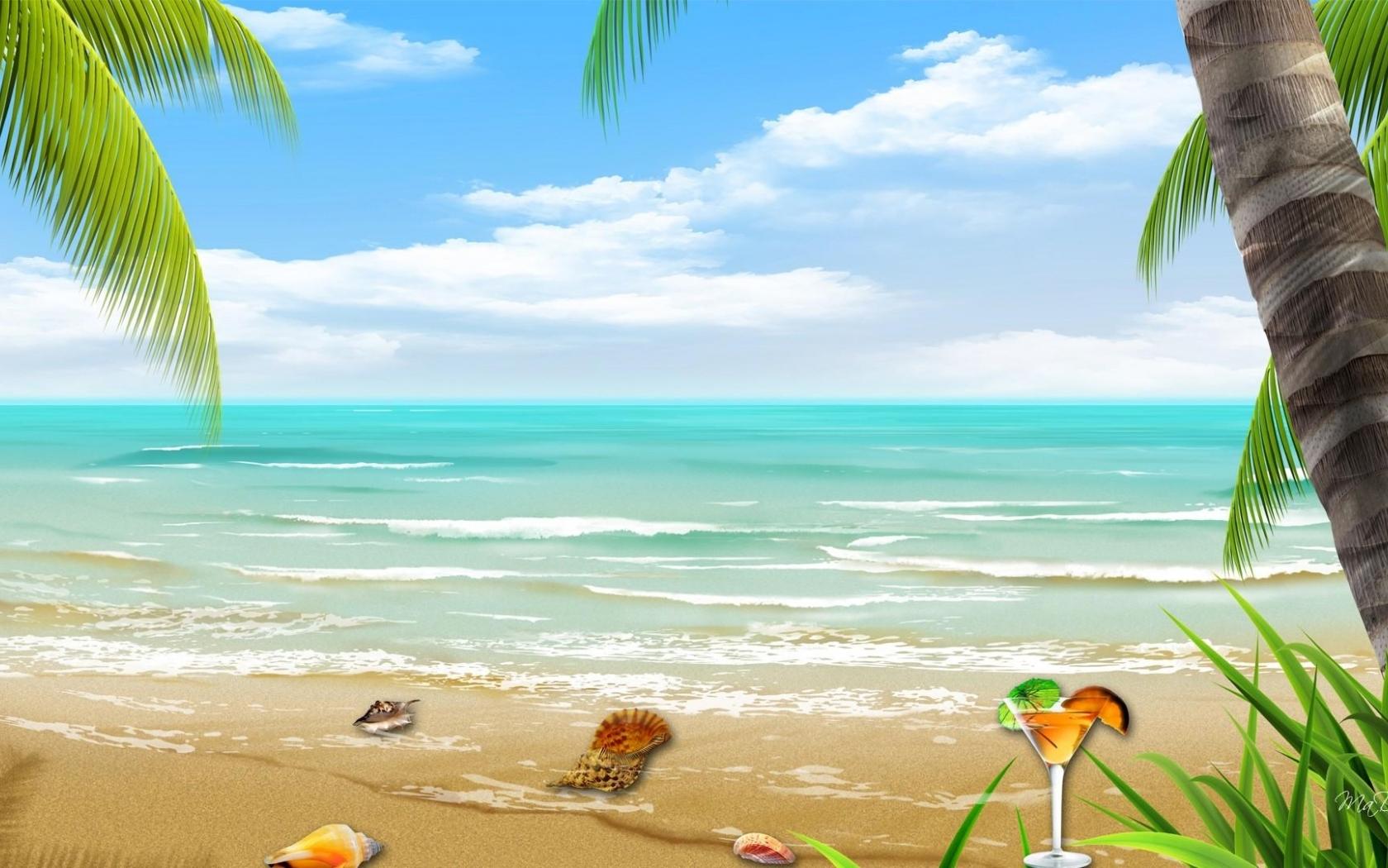 Vector Tropical Beach Wallpaper Hd   Background Wallpaper Gallery
